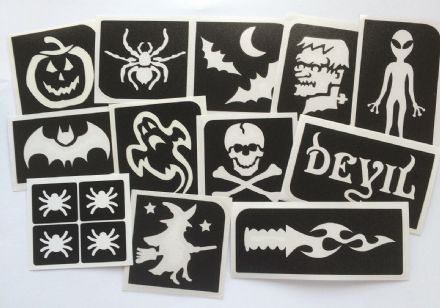 GLITTER TATTOO 12 HALLOWEEN STENCILS  PUMPKIN SKULL ALIEN GHOST WITCH